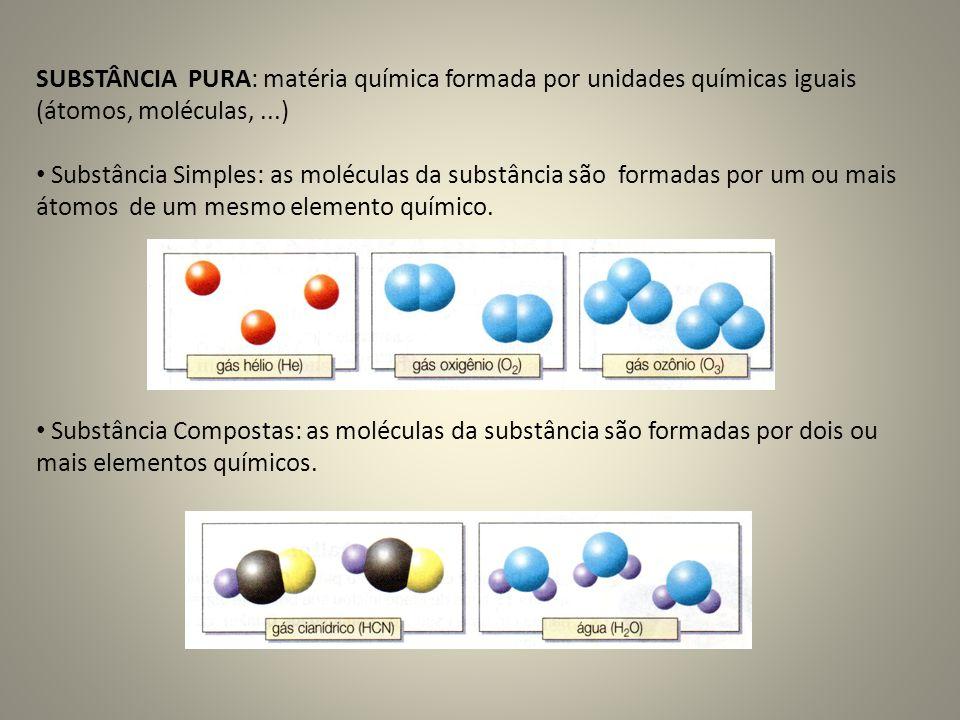 SUBSTÂNCIA PURA: matéria química formada por unidades químicas iguais (átomos, moléculas, ...)