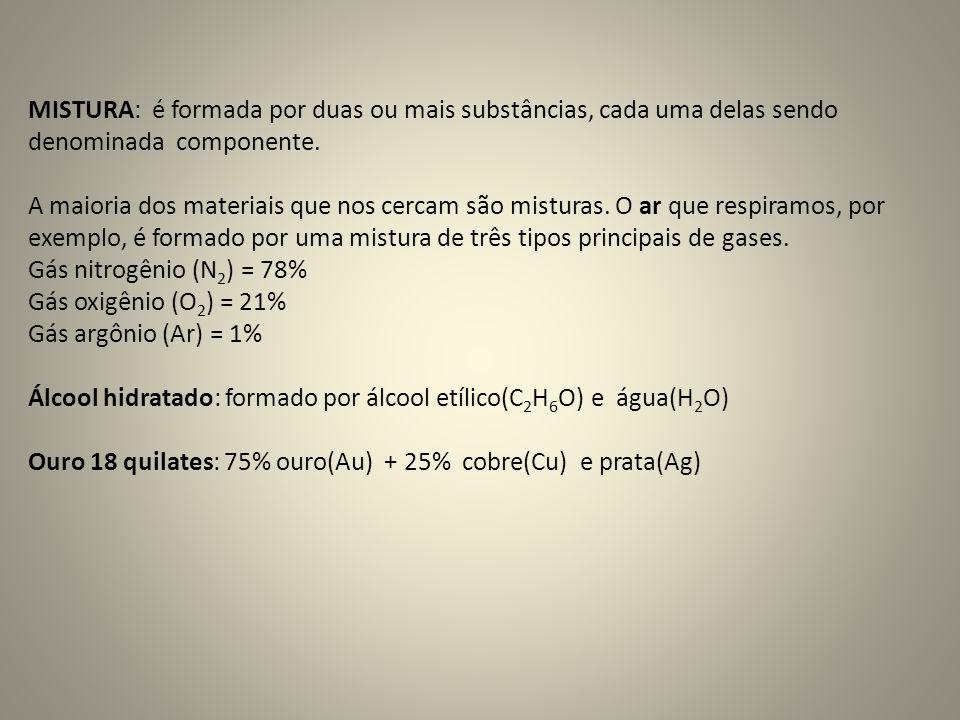 MISTURA: é formada por duas ou mais substâncias, cada uma delas sendo denominada componente.