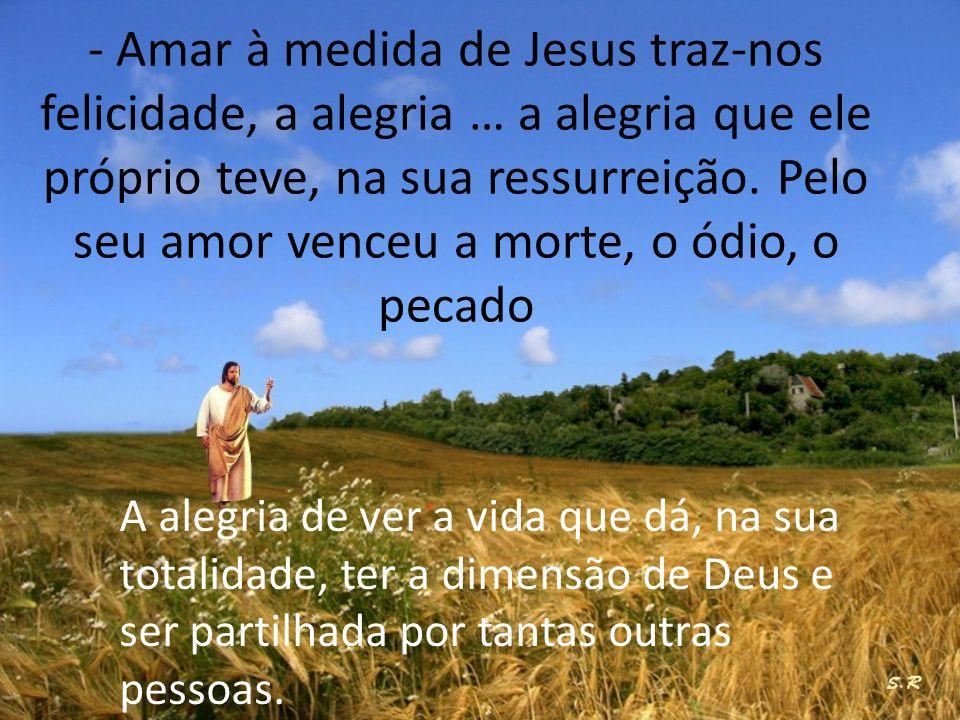 - Amar à medida de Jesus traz-nos felicidade, a alegria … a alegria que ele próprio teve, na sua ressurreição. Pelo seu amor venceu a morte, o ódio, o pecado