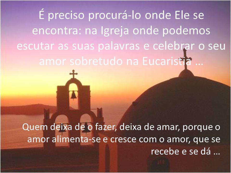 É preciso procurá-lo onde Ele se encontra: na Igreja onde podemos escutar as suas palavras e celebrar o seu amor sobretudo na Eucaristia …