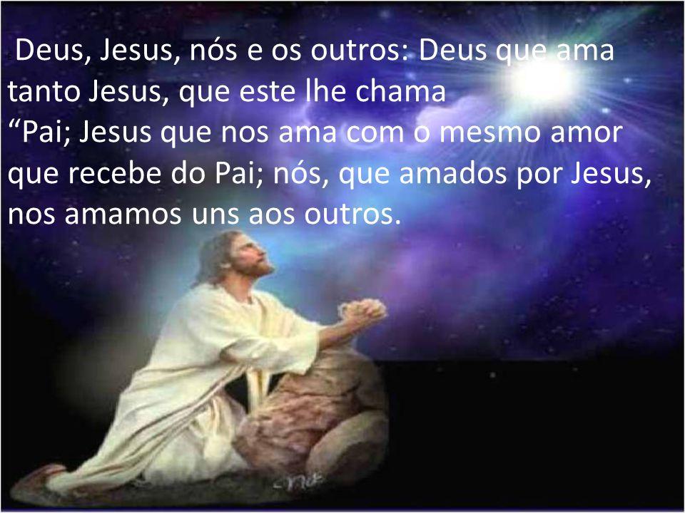 É Deus, Jesus, nós e os outros: Deus que ama tanto Jesus, que este lhe chama Pai; Jesus que nos ama com o mesmo amor que recebe do Pai; nós, que amados por Jesus, nos amamos uns aos outros.