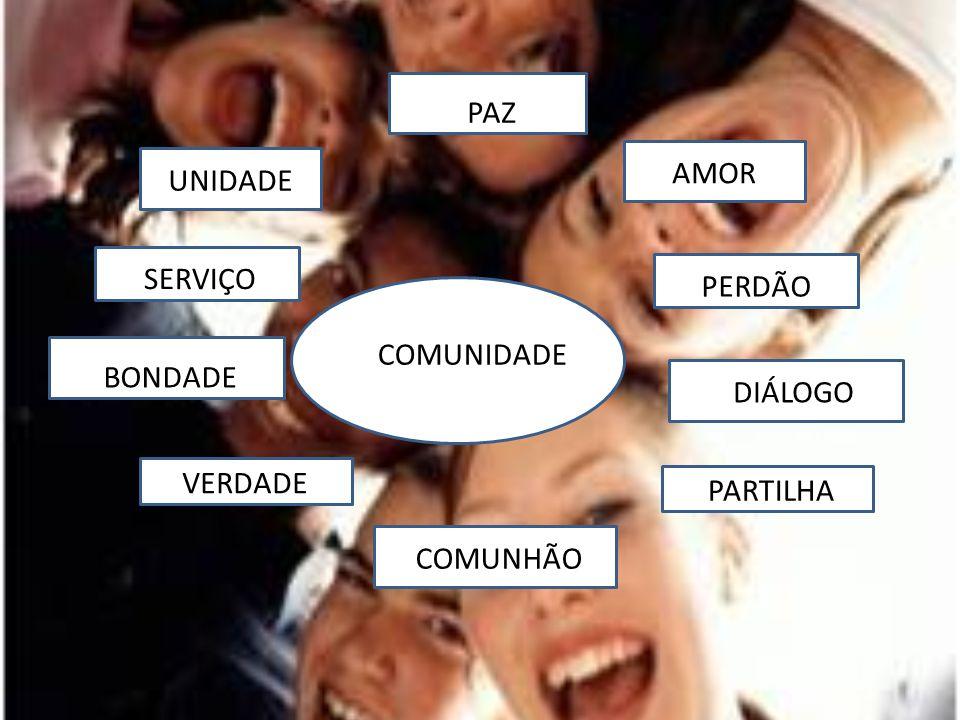 PAZ AMOR UNIDADE SERVIÇO PERDÃO COMUNIDADE BONDADE DIÁLOGO VERDADE PARTILHA COMUNHÃO
