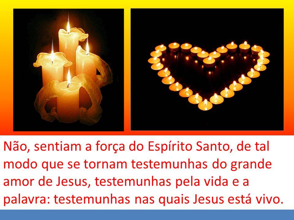 Não, sentiam a força do Espírito Santo, de tal modo que se tornam testemunhas do grande amor de Jesus, testemunhas pela vida e a palavra: testemunhas nas quais Jesus está vivo.