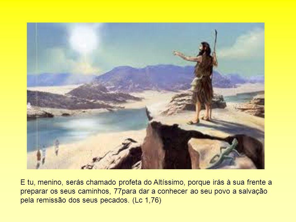 E tu, menino, serás chamado profeta do Altíssimo, porque irás à sua frente a preparar os seus caminhos, 77para dar a conhecer ao seu povo a salvação