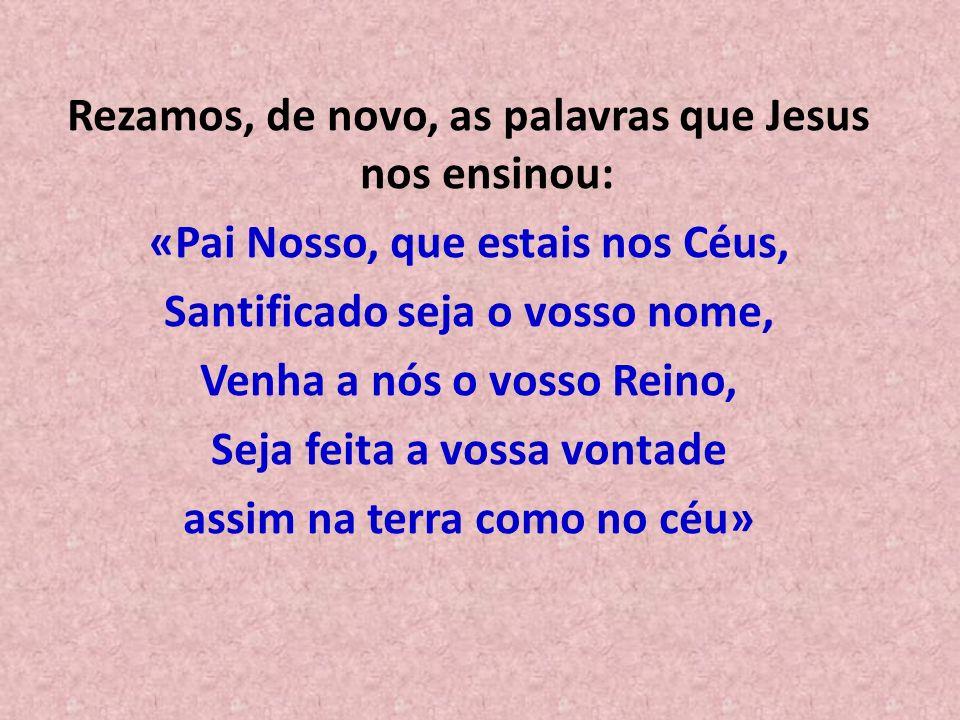 Rezamos, de novo, as palavras que Jesus nos ensinou: «Pai Nosso, que estais nos Céus, Santificado seja o vosso nome, Venha a nós o vosso Reino, Seja feita a vossa vontade assim na terra como no céu»