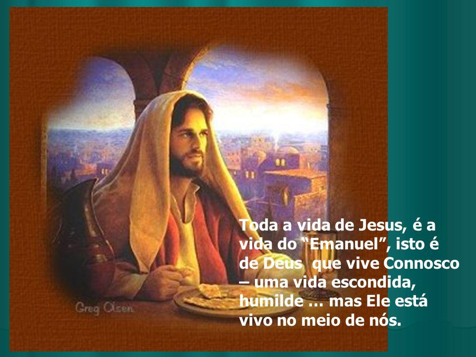 Toda a vida de Jesus, é a vida do Emanuel , isto é de Deus que vive Connosco – uma vida escondida, humilde … mas Ele está vivo no meio de nós.