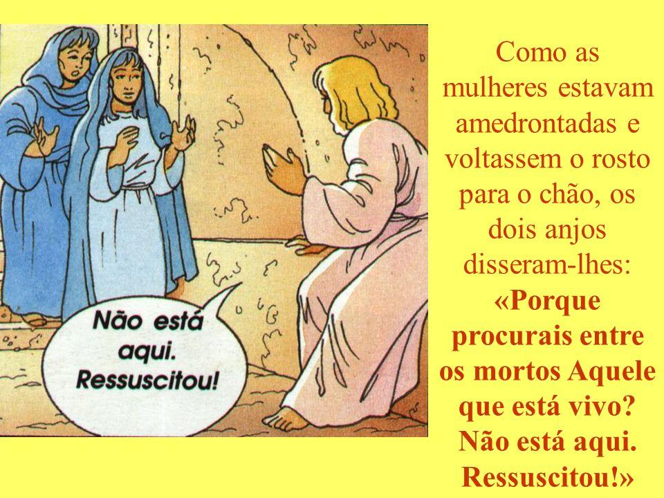 Como as mulheres estavam amedrontadas e voltassem o rosto para o chão, os dois anjos disseram-lhes: «Porque procurais entre os mortos Aquele que está vivo Não está aqui. Ressuscitou!»