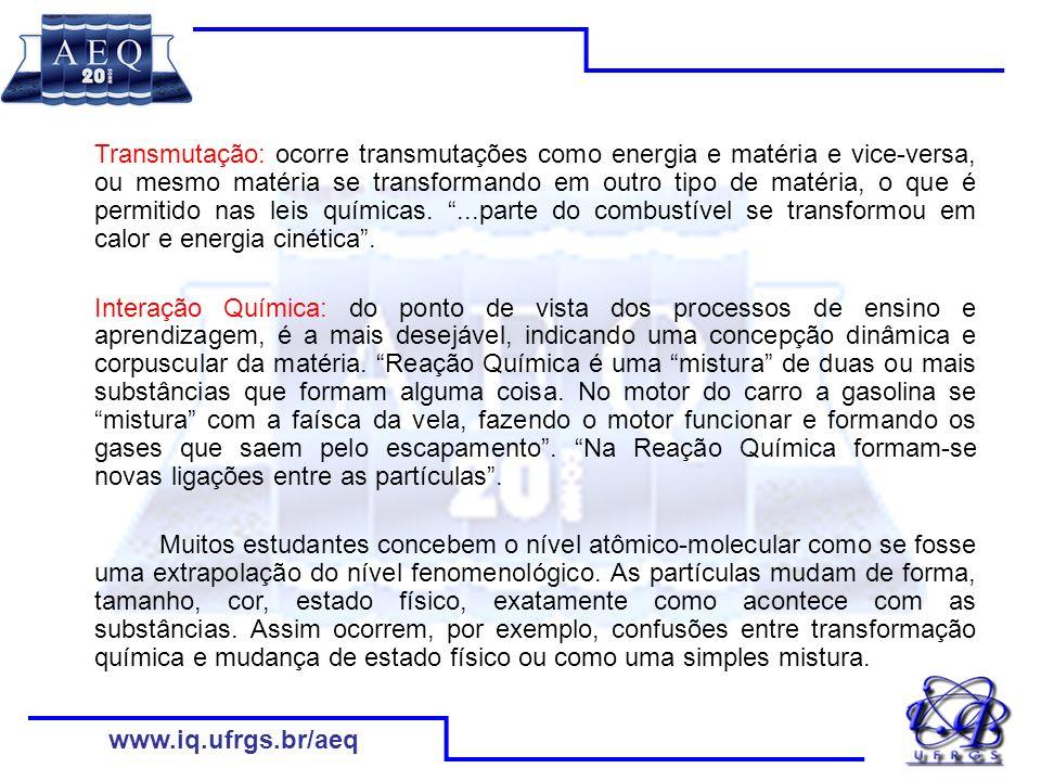 Transmutação: ocorre transmutações como energia e matéria e vice-versa, ou mesmo matéria se transformando em outro tipo de matéria, o que é permitido nas leis químicas. ...parte do combustível se transformou em calor e energia cinética .
