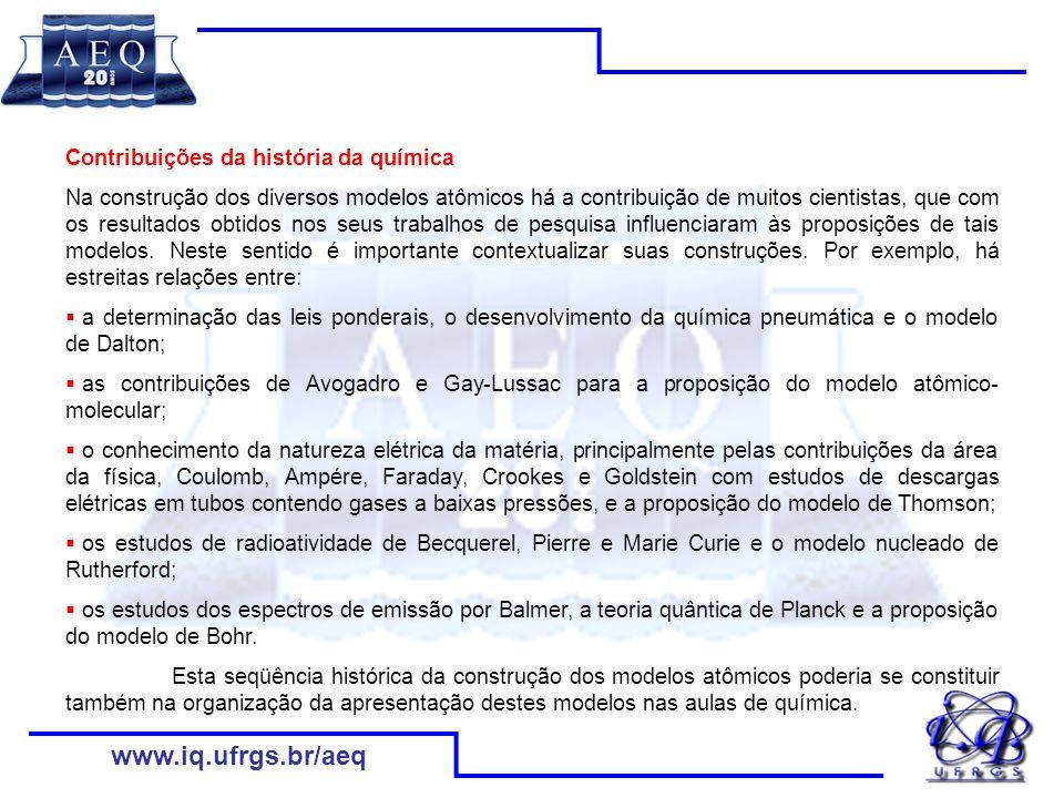 www.iq.ufrgs.br/aeq Contribuições da história da química