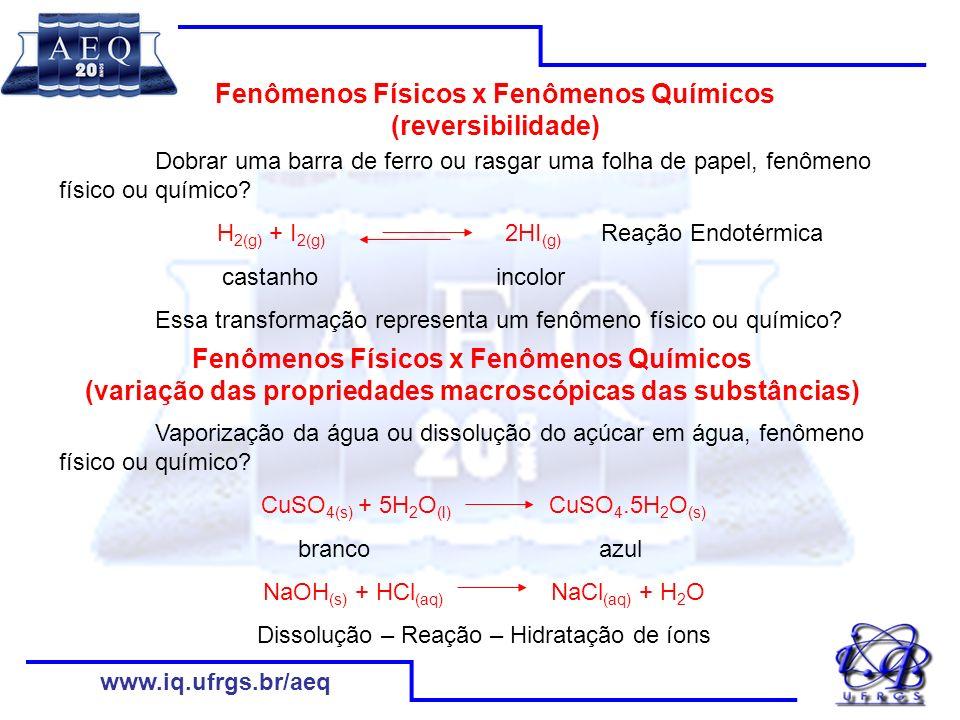 Fenômenos Físicos x Fenômenos Químicos (reversibilidade)