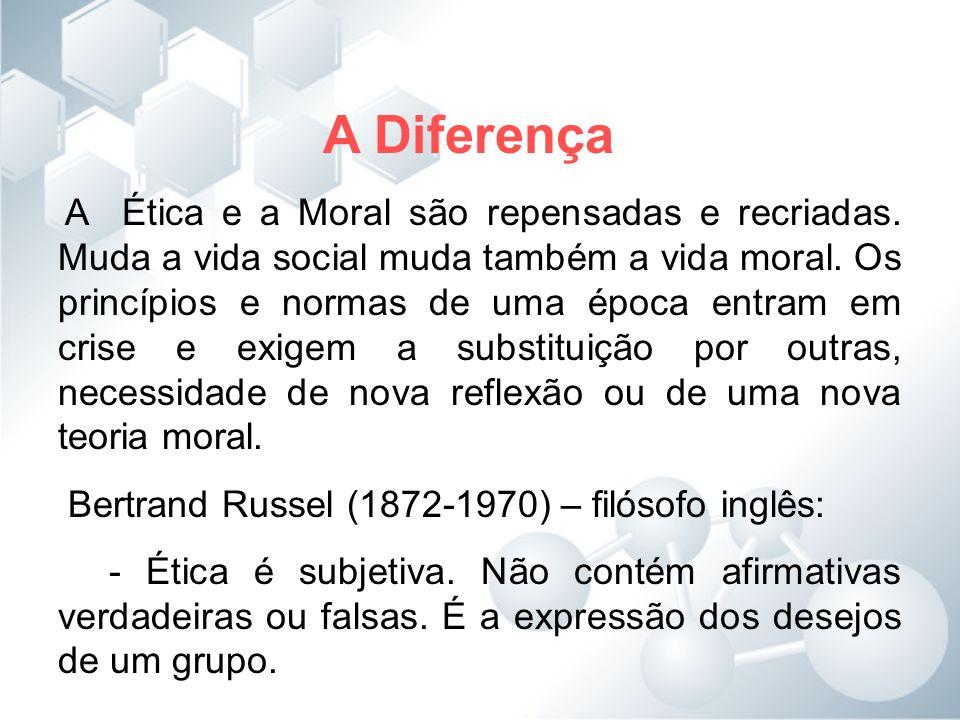 A Diferença Bertrand Russel (1872-1970) – filósofo inglês: