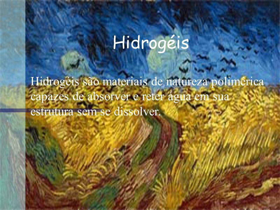 Hidrogéis Hidrogéis são materiais de natureza polimérica capazes de absorver e reter água em sua estrutura sem se dissolver.