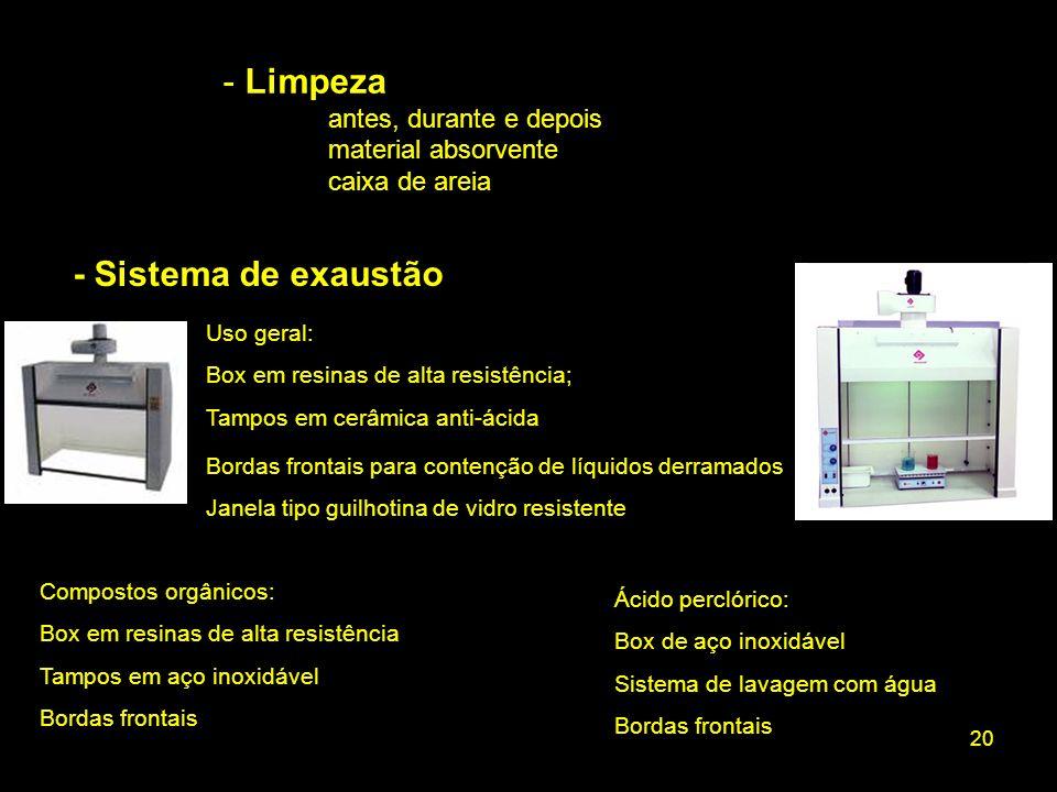 Limpeza - Sistema de exaustão antes, durante e depois