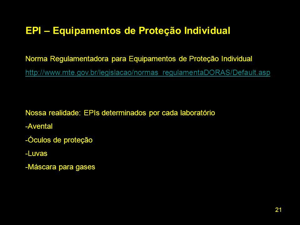 EPI – Equipamentos de Proteção Individual