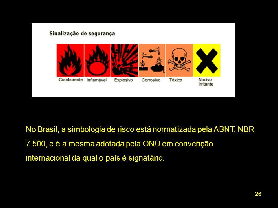 No Brasil, a simbologia de risco está normatizada pela ABNT, NBR 7