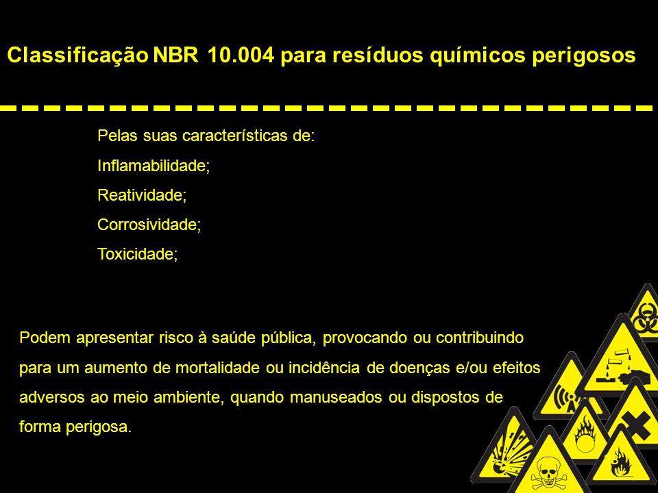 Classificação NBR 10.004 para resíduos químicos perigosos