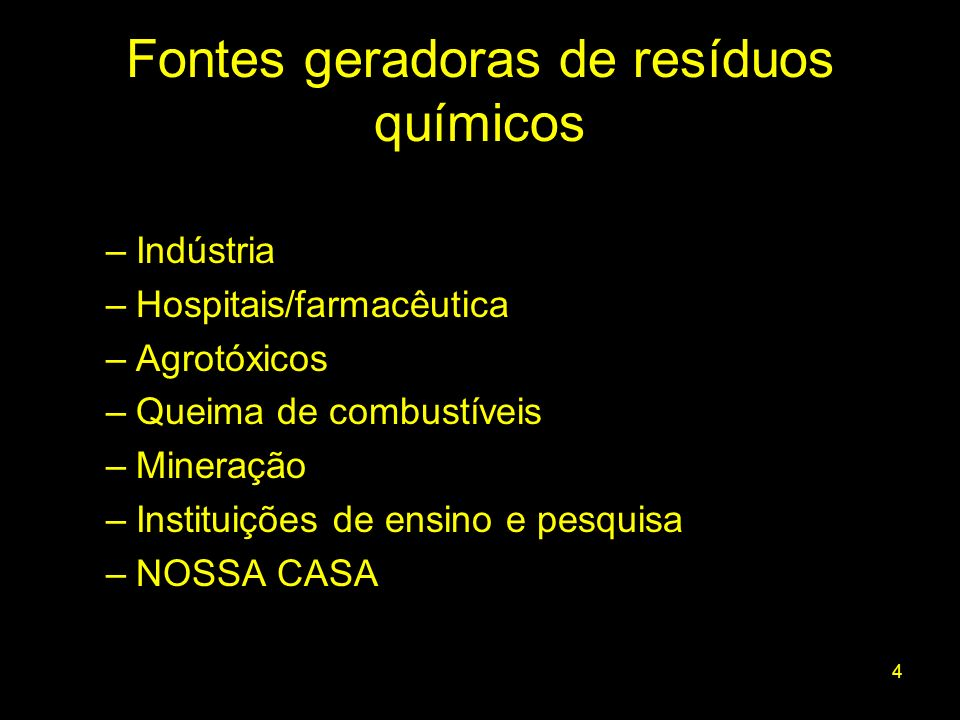 Fontes geradoras de resíduos químicos