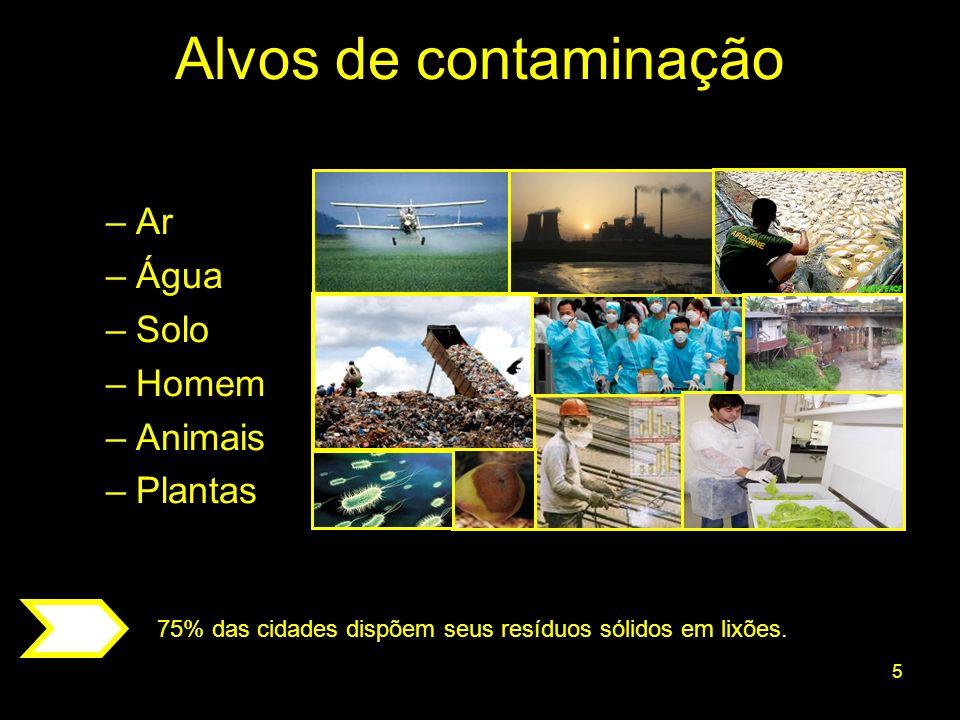 Alvos de contaminação Ar Água Solo Homem Animais Plantas