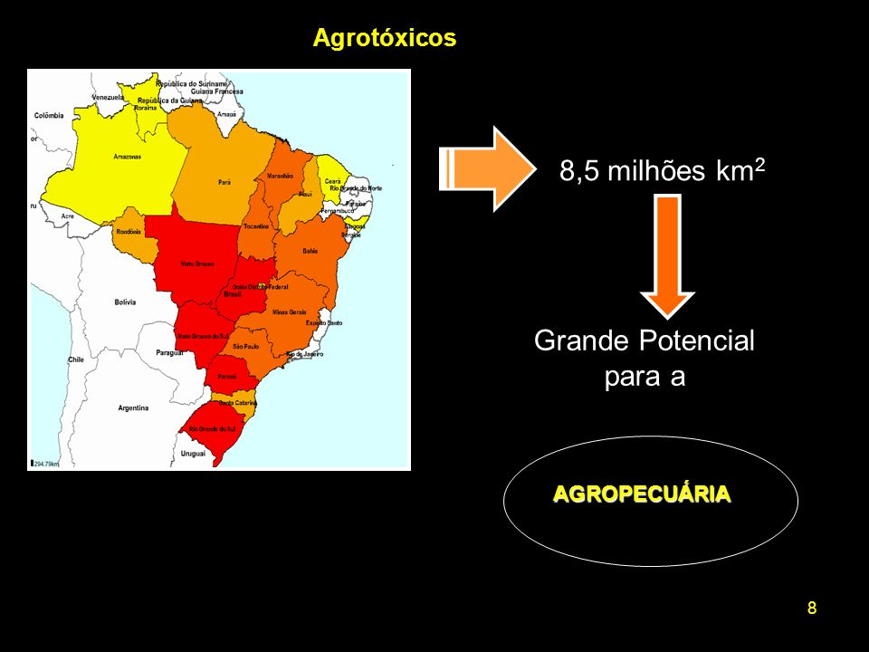 Agrotóxicos 8,5 milhões km2 Grande Potencial para a AGROPECUÁRIA