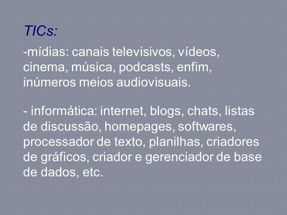 TICs: mídias: canais televisivos, vídeos, cinema, música, podcasts, enfim, inúmeros meios audiovisuais.