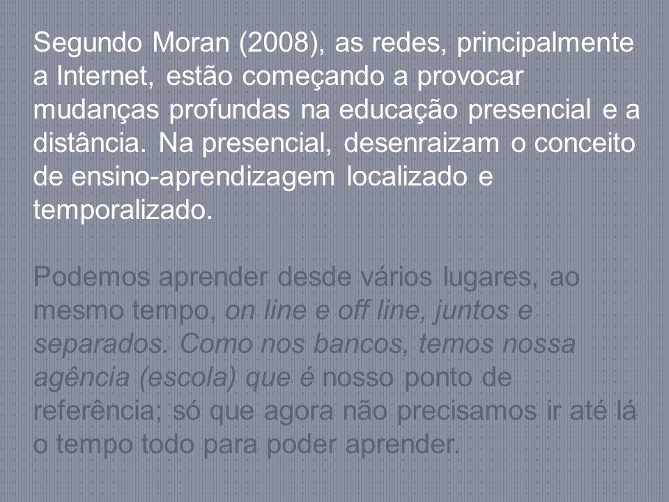 Segundo Moran (2008), as redes, principalmente a Internet, estão começando a provocar mudanças profundas na educação presencial e a distância. Na presencial, desenraizam o conceito de ensino-aprendizagem localizado e temporalizado.