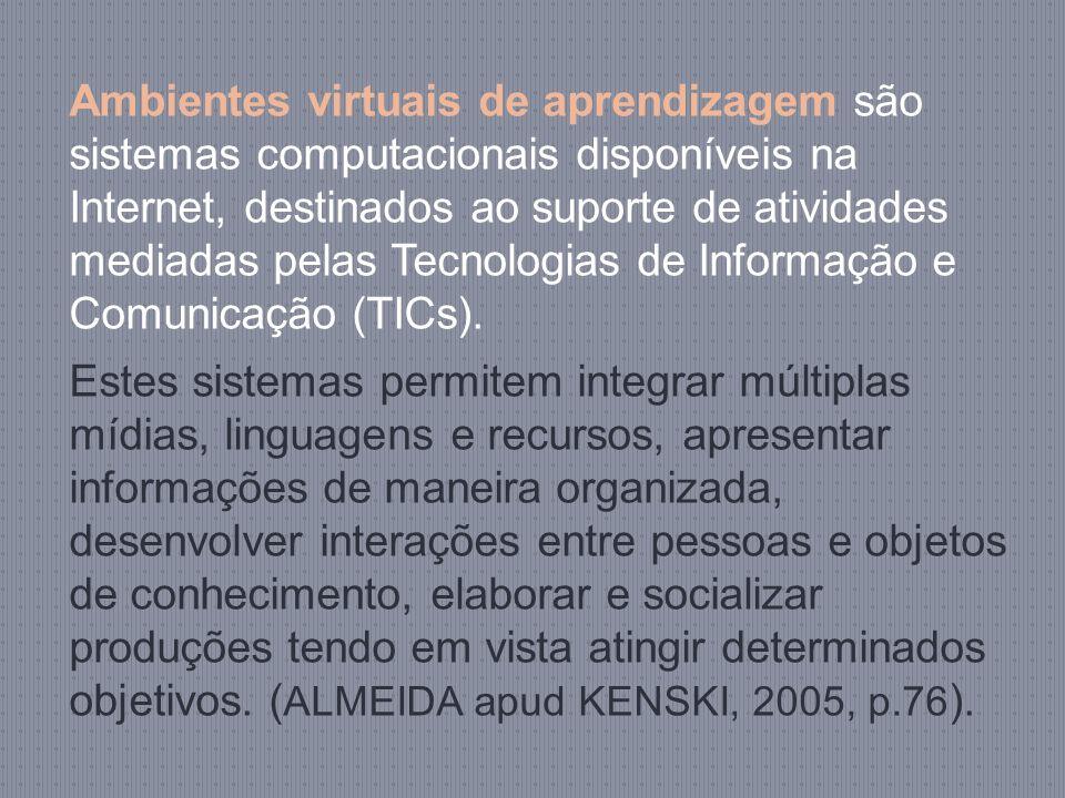 Ambientes virtuais de aprendizagem são sistemas computacionais disponíveis na Internet, destinados ao suporte de atividades mediadas pelas Tecnologias de Informação e Comunicação (TICs).