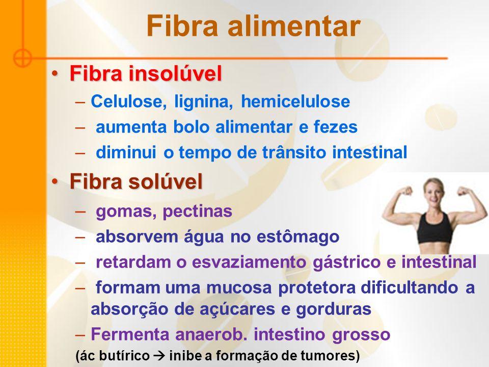 Fibra alimentar Fibra insolúvel Fibra solúvel gomas, pectinas