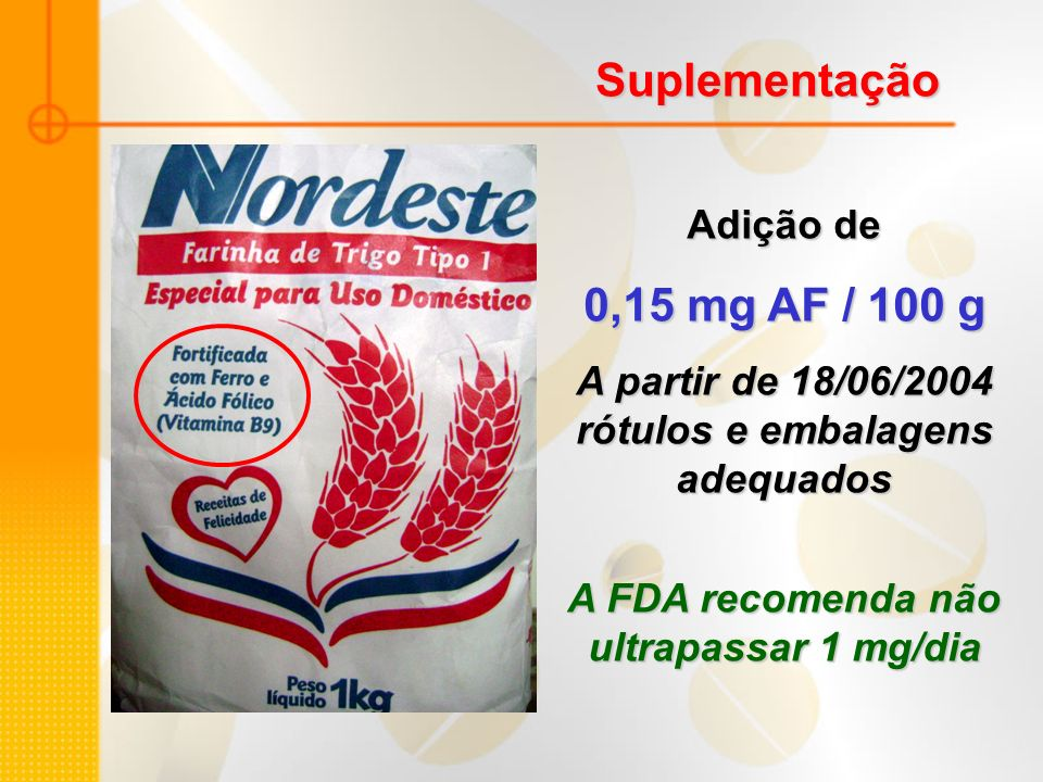 Suplementação 0,15 mg AF / 100 g Adição de