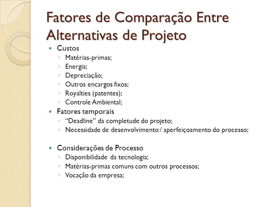 Fatores de Comparação Entre Alternativas de Projeto