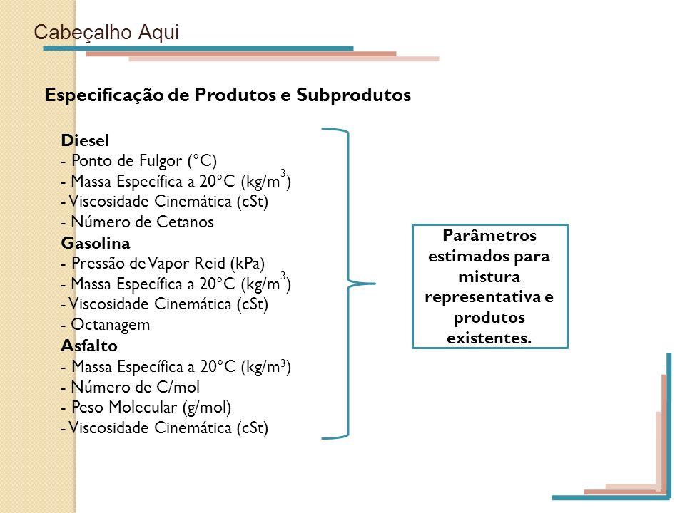 Cabeçalho Aqui Especificação de Produtos e Subprodutos Diesel