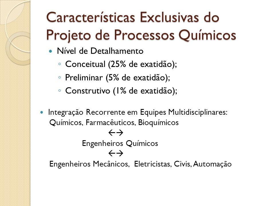 Características Exclusivas do Projeto de Processos Químicos