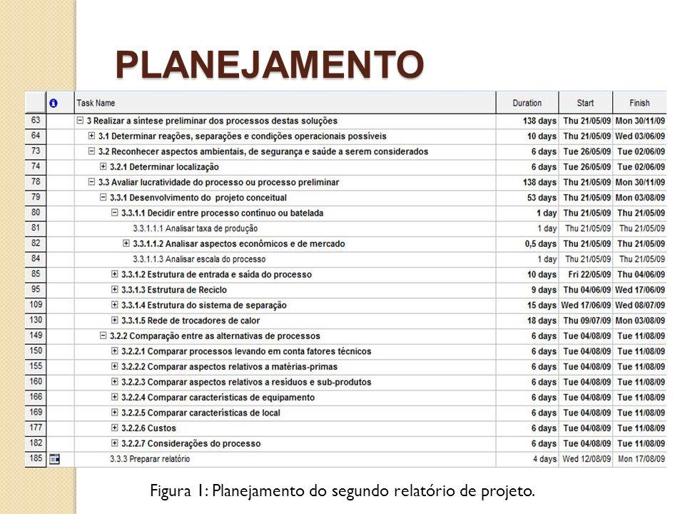 Figura 1: Planejamento do segundo relatório de projeto.
