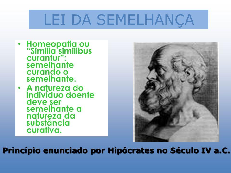LEI DA SEMELHANÇA Homeopatia ou Similia similibus curantur : semelhante curando o semelhante.