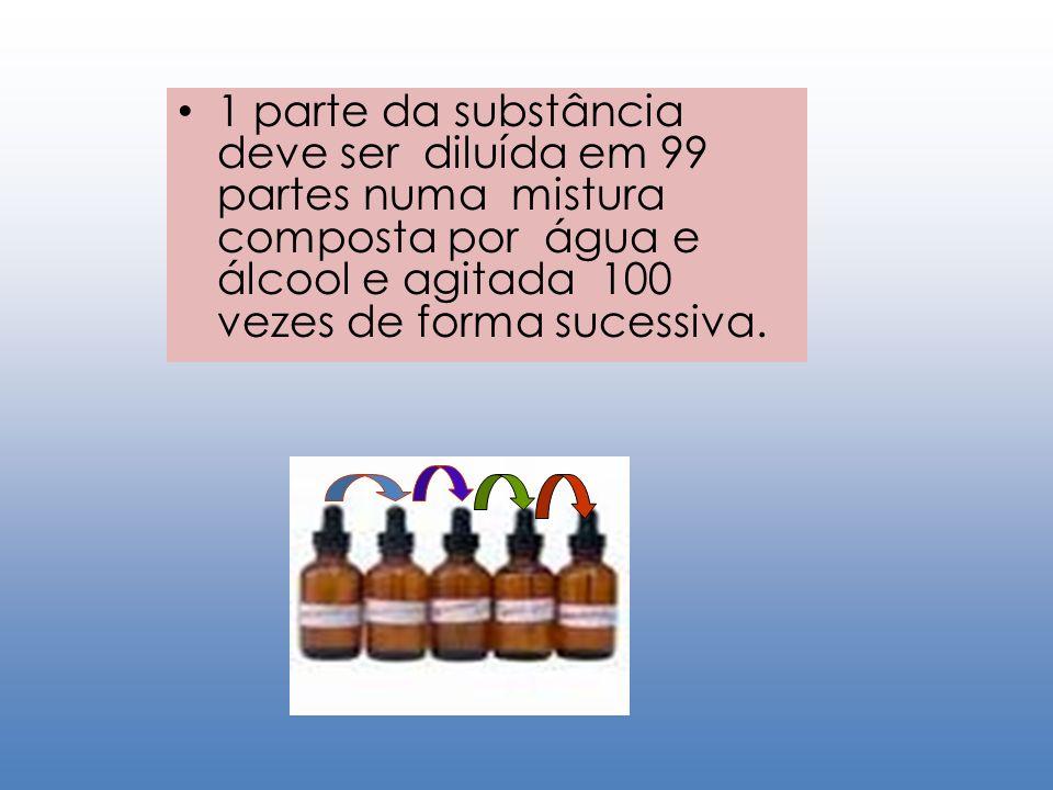 1 parte da substância deve ser diluída em 99 partes numa mistura composta por água e álcool e agitada 100 vezes de forma sucessiva.