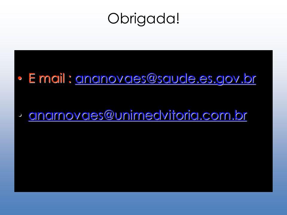Obrigada! E mail : ananovaes@saude.es.gov.br