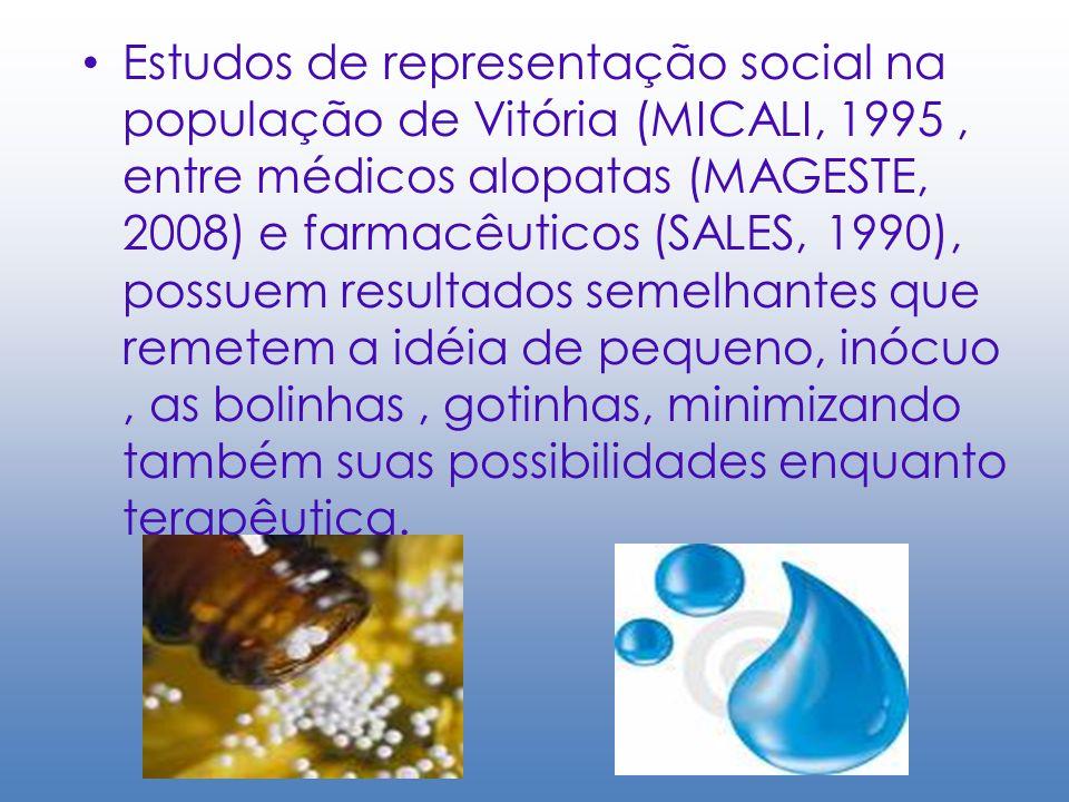 Estudos de representação social na população de Vitória (MICALI, 1995 , entre médicos alopatas (MAGESTE, 2008) e farmacêuticos (SALES, 1990), possuem resultados semelhantes que remetem a idéia de pequeno, inócuo , as bolinhas , gotinhas, minimizando também suas possibilidades enquanto terapêutica.