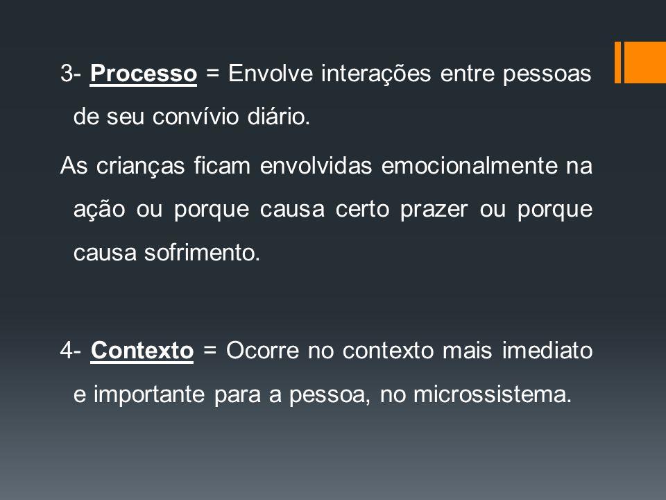 3- Processo = Envolve interações entre pessoas de seu convívio diário.