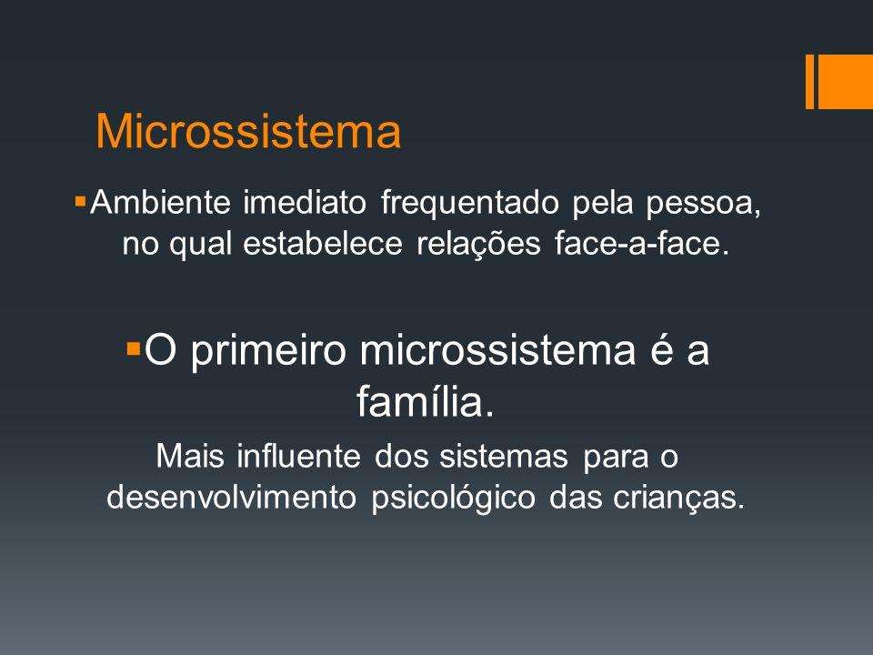 O primeiro microssistema é a família.