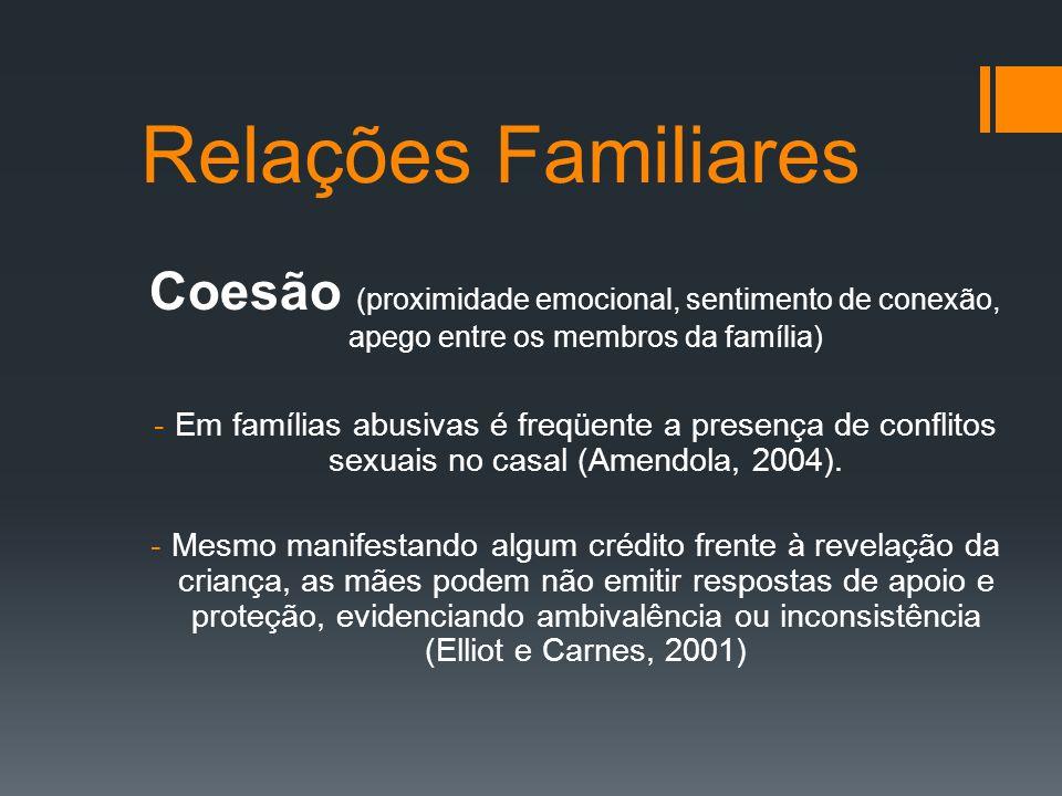 Relações Familiares Coesão (proximidade emocional, sentimento de conexão, apego entre os membros da família)
