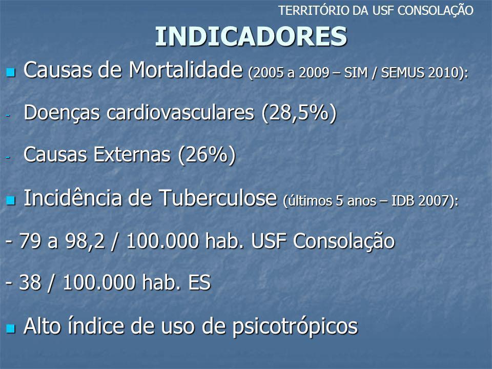 INDICADORES Causas de Mortalidade (2005 a 2009 – SIM / SEMUS 2010):
