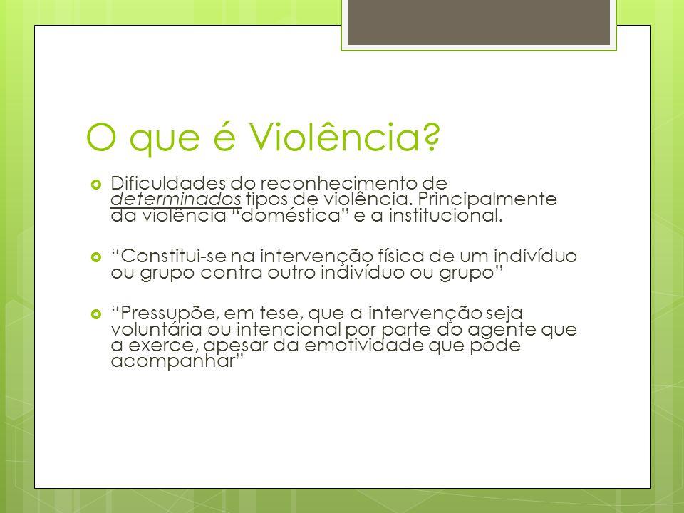 O que é Violência Dificuldades do reconhecimento de determinados tipos de violência. Principalmente da violência doméstica e a institucional.