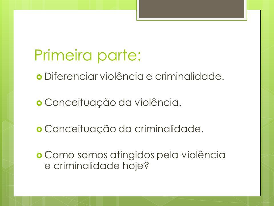 Primeira parte: Diferenciar violência e criminalidade.