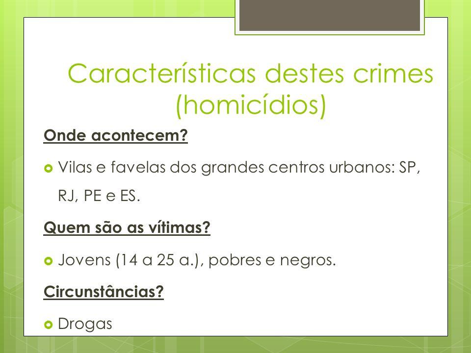 Características destes crimes (homicídios)