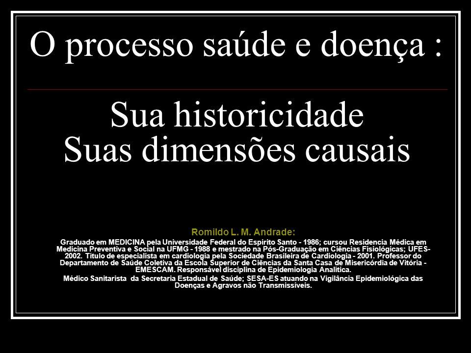 O processo saúde e doença : Sua historicidade Suas dimensões causais