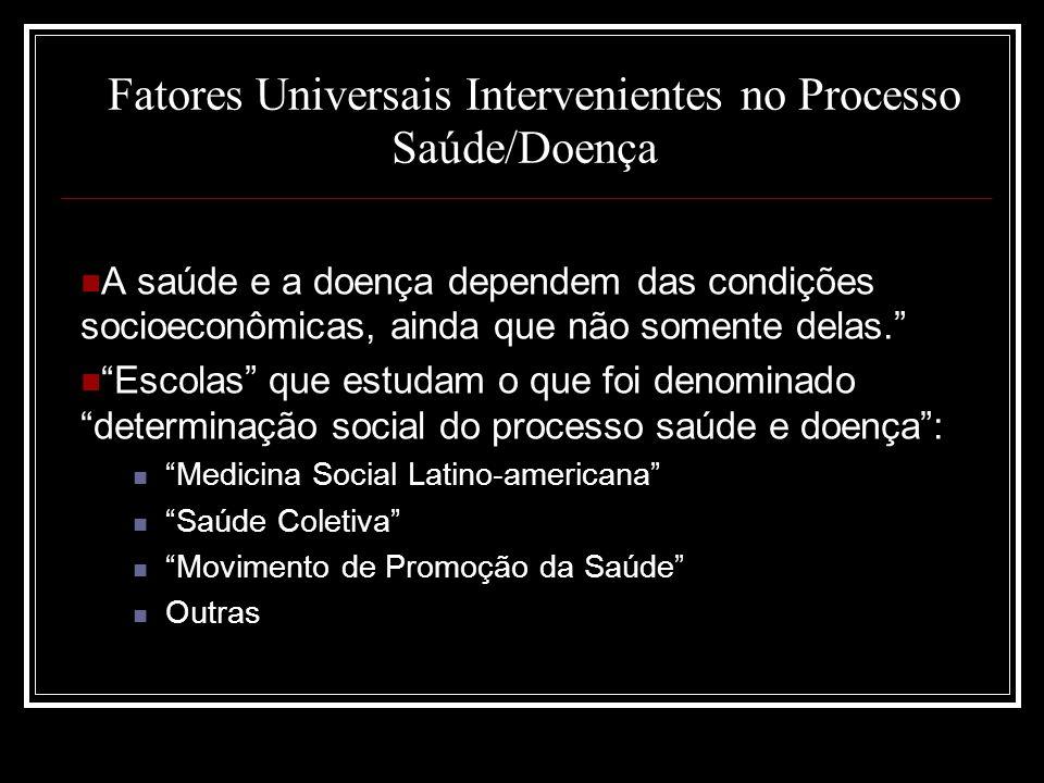 Fatores Universais Intervenientes no Processo Saúde/Doença