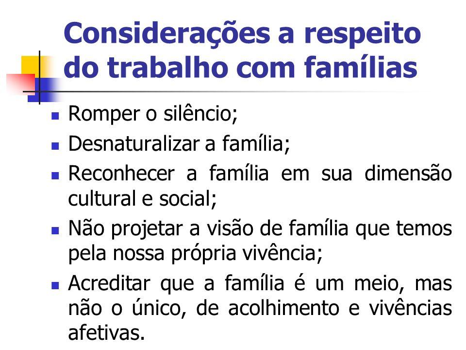 Considerações a respeito do trabalho com famílias