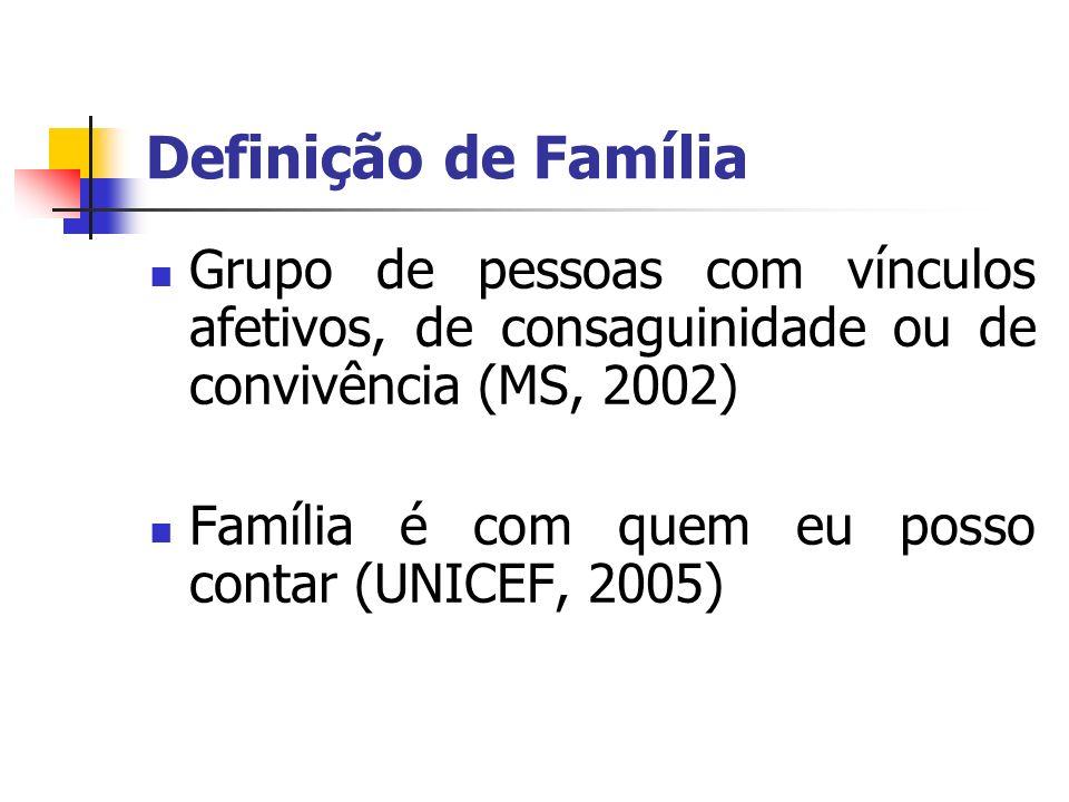 Definição de FamíliaGrupo de pessoas com vínculos afetivos, de consaguinidade ou de convivência (MS, 2002)