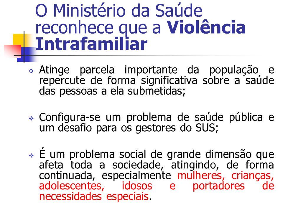 O Ministério da Saúde reconhece que a Violência Intrafamiliar