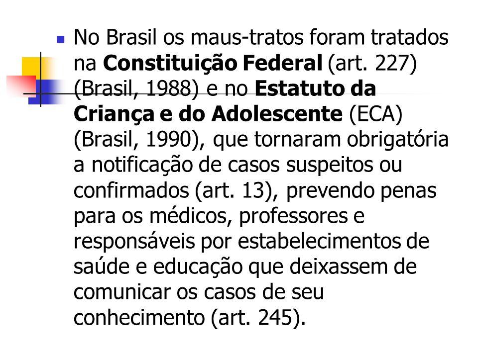 No Brasil os maus-tratos foram tratados na Constituição Federal (art