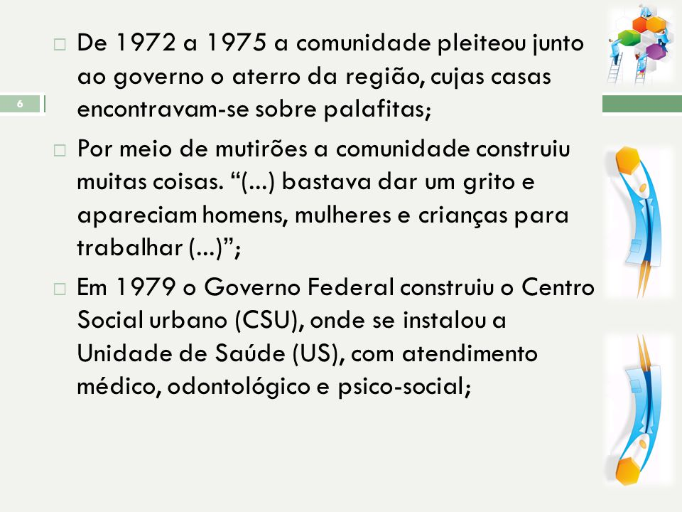 De 1972 a 1975 a comunidade pleiteou junto ao governo o aterro da região, cujas casas encontravam-se sobre palafitas;